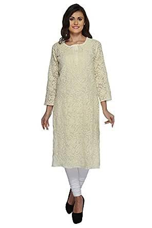 Lucknowi Chikan Handmade Faux Georgette Kurti Dress by ADA A158890