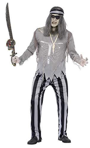 Smiffys, Herren Geister Piraten Schiffskamerad Kostüm, Oberteil, Hose und Stirnband, Größe: M, 27551