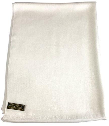 ivory-solid-colour-design-nepalese-fringe-shawl-pashmina-scarf-wrap-cj-apparel-new