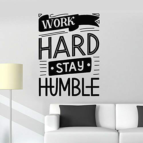 supmsds Lavora Duro Soggiorno Umile Adesivi murali Frase Motivazionale per Ufficio Citazioni Decalcomanie da Muro in Vinile Aula Decorazione Domestica Moderna 63X85CM