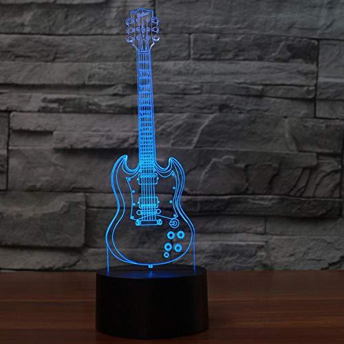 Schreibtisch Lampe,Usb Schlafzimmer 3D Nachtlicht 7 Bunte Nacht Dekor Gitarre Schreibtischlampe Kinder Geschenke Schlaf Musikinstrumente Leuchtenideale Kunst