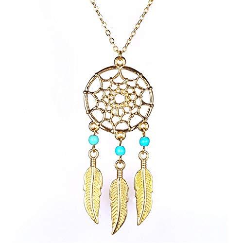 ZUXIANWANG Collar de Oro Joyería Joyería de Moda Colgante Collar Atrapasueños Cuero Regalo Chica Femenina