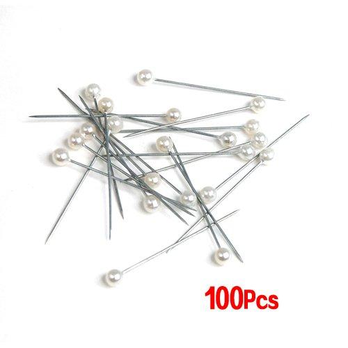 SODIAL (R) 100pz spilla perla bianco / avorio per i fiori da sposa / occhielli / corpetti