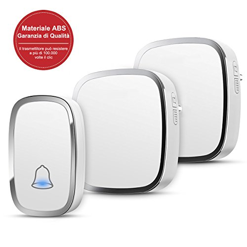 YYQ Campanello Senza Fili da Esterno Impermeabile IP44, Wireless...