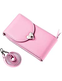 LQZ PU Leather Women Wallet Girls Crossbody Cell Phone Bag Purse With Credit Card Holder