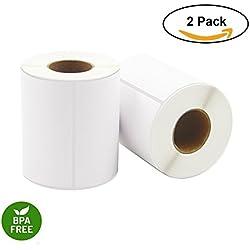 Etiquetas térmicas directas, 10cm x 15 cm, 250 etiquetas por rollo, 2 rollos por cartón, etiquetas de envío en blanco 2 Rolls