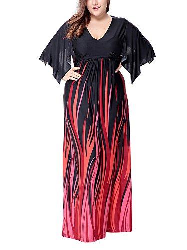 Femme V-Col Robe de Soirée Longue Robe bohême à 1/2 Manches Robe de Plage Grande Taille Comme image