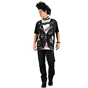 Easy Punk Rocker Shirt Mens Fancy Dress Outfit Adults 80's Punk Costume 4 Sizes (Men:  Medium)