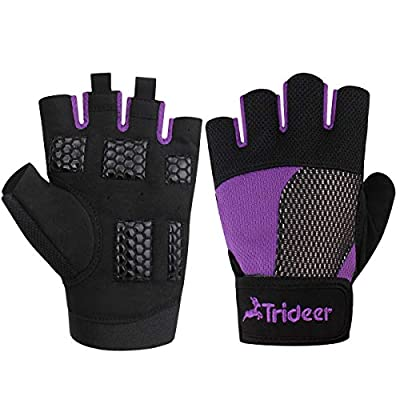 Trideer Womens & Men Weight Lifting Gloves For Callus And Blister Protection, Breathable & Anti-slip Gym Gloves For Powerlifting/Cross Training/Bodybuilding - Available in Black, Pink, Purple (Pair)  by Trideer