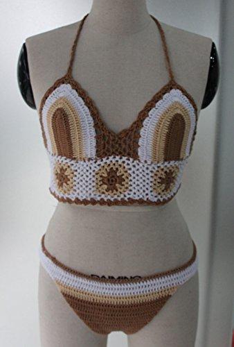 ... Bikinis Damen Neckholder Triangel Ethno-Style Retro Gehäkelt Tricolor  Sommer Beach Bikini Set Beachwear Swimwear ...