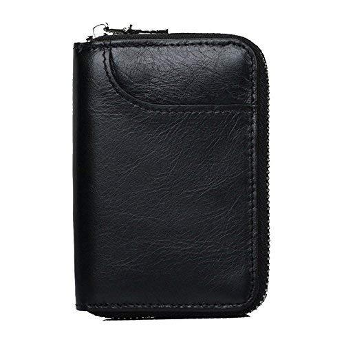Porta carte di credito vodabang rfid in vera pelle carta titolare portafogli per uomo donna (nero)