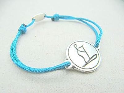 """Bracelet réglable cordon tressé""""Paddle"""" 18mm finition argent 925"""