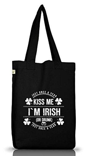 Irland St. Patrick's Day Jutebeutel Stoffbeutel Earth Positive Kiss Me I'm Irish Black