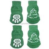#5: Alcoa Prime Pet Dog Knitted Shoes Slippers Non-Slip Socks Christmas Tree & Paw Prints XL
