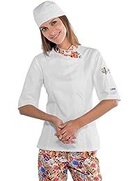 Mujer cocinero Snap de manga corta blanco/Sweets