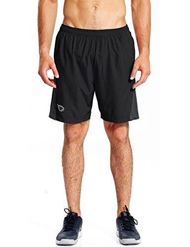 Baleaf Herren Laufhose kurze Sporthose Shorts Quick-Dry-Funktion Fitness Hose mit Seitentaschen Schwarz Größe L - Sporthose Kurz Herren Größe