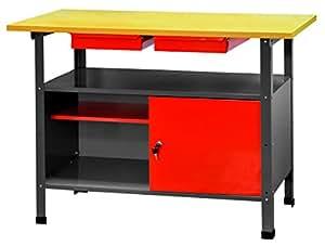 Tavolo Da Lavoro Elettronica : Banco da lavoro con piano in legno e cassetto portautensili