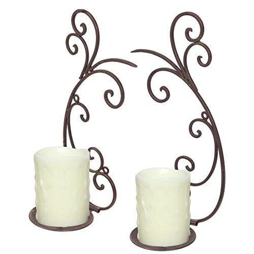 Fashionpillow -1211330- Kerzen - Wandleuchter Set | Wand-Kerzenhalter aus gebogenem Eisen in antikbraun - 2er Set