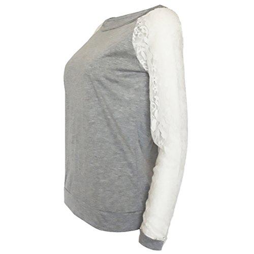 Camicia Donna Elegante Taglie Forti Grigio Blusa In Pizzo Senza Schienale Girocollo Maglie A Manica Lunga Allentato Camicetta Classica Casuale Moda Camicie T-Shirt Grigio