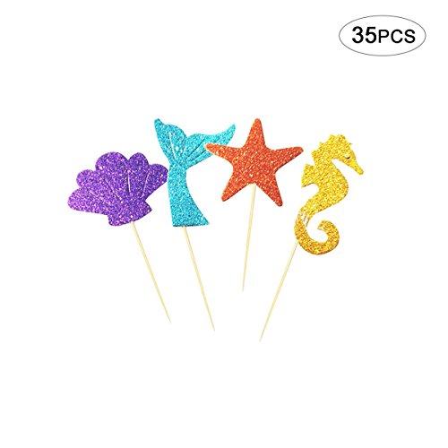 mi ji Märchen Meerjungfrau Thema Happy Birthday Cake Toppers für Baby Geburtstag Gefälligkeiten, Party Dekoration 35 Stücke (Märchen-geburtstag Dekorationen)