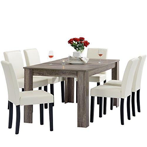 [en.casa] Esstisch und Stuhlset Oslo (antik - 160x90) 6 Stühle (Gepolstert - Creme) - im Sparpaket -