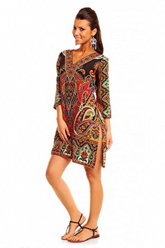 Looking Glam Ladies Tribal Print Kaftan Tunic Summer Top Midi Dress - Size 10-18