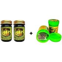 2x 50g Thai esld pagpon Green Balm Masaje Bálsamo vegetal pura + 2x Hong itchykoo Herbal inhaler de thailändischen hierbas y aceites esenciales–Thai Wellness Set