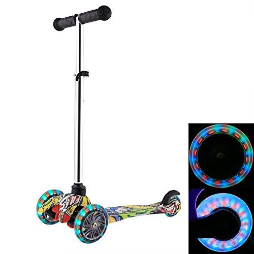 WeSkate Scooter Kinder Kinderroller Kleinkinder Roller Scooter 3 Räder Verstellbare und abnehmbarer Lenker Kinderscooter Dreiräder mit Blinkenden LED-Räder Für Kinder ab 3 Jahren (Schwarz)