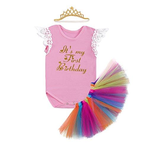 77b08438d39e Newborn Baby Infant Toddler Girls It's My 1st Birthday Cake Smash Shiny  Printed Sequin Tutu Princess Dress Romper Skirt With Unicorn Ear Crown  Headband ...