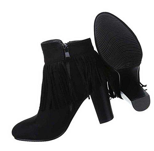 Damen Stiefeletten Schuhe Boots Designer Schlüpfstiefel Mit Fransen Schwarz Schwarz