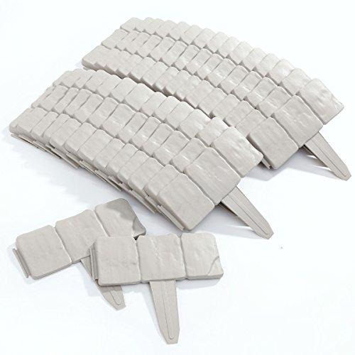 10unidades de separadores de jardín de plástico con efecto de piedra gris...
