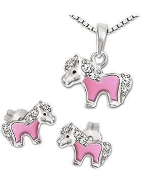 CLEVER SCHMUCK-SET Silberne Ohrstecker Mini Pony 8 x 5 mm, teils rosa lackiert mit mehreren Zirkonias + passender...