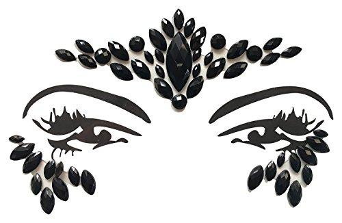 Gesicht und Körper Juwelen Edelstein Aufkleber MAKE-UP für Party Festival Shows und Bühnenauftritte 1809 schwarz (Körper Juwel Kleben)