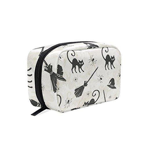 tizorax Halloween Katzen Besen und Hexe Hüte Praktische Kosmetik Tasche Kupplung Make-up-Tasche Organizer Reisetasche
