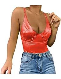 Geilisungren Damen Sexy V-Ausschnitt Ärmellos Spaghetti Straps Tank Tops Frauen Sommer Rückenfrei Leibchen Weste Einfarbige Slim Fit Bodysuit Overall