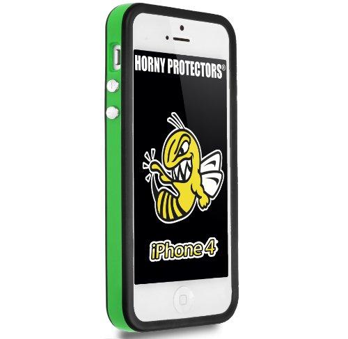 Horny Protectors Bumper für Apple iPhone 4 rosa/weiß mit Metallbutton grün/schwarz