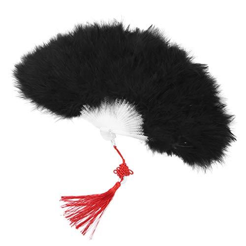 Agoky Vintage Feder Handfächer flauschig Faltfächer Flapper Kleider Kostüm Accessoires Hochzeit Party Halloween Tanzen Schwarz One Size