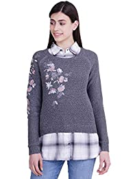 ICABLE Women's Fashion Stretchy Collared Neck Long Sleeve Pullovers Sweaters Top
