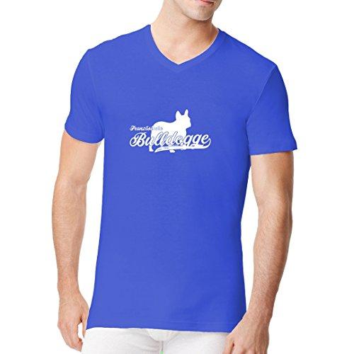 Im-Shirt - Hunde-Motiv: Französische Bulldogge (weiß) cooles Fun Men V-Neck - verschiedene Farben Royal