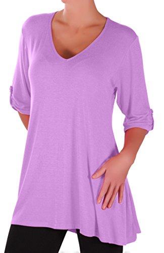 Eyecatch Plus - Shellie Damen V-Ausschnitt Tunika Übergröße Frauen Ausgestelltes Langes Top (V-neck-shirt Womens Plus)