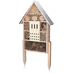 Navaris Hôtel à Insecte Bois - Cabane Abri XL 38 x 11,5 x 57 cm avec 2 Piquets - Nid Nichoir pour Abeilles Papillons et Autres Insectes Volants