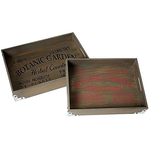 Prie x cette bouche Botanic Garden Set de plateaux, bois, marron, 30x 40x 6.5cm