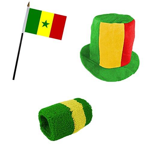Sonia Originelli Fan-Paket-13 WM Länder Fußball Zylinder Hut Schweißband Mini Flagge Farbe Senegal -