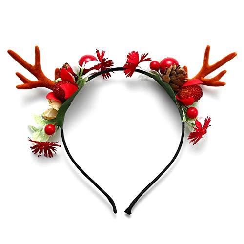 Unicra De Noël Bandeau Fleur Cornets Bandeau Elk Cerf Animal Cornes Chapeaux Coiffe Morceau De Cheveux Halloween Accessoires Cheveux pour Femmes et Filles