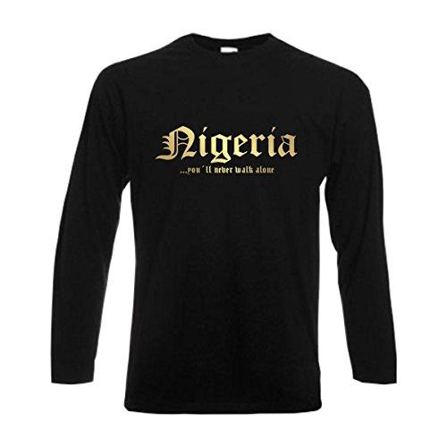 Longsleeve NIGERIA never walk alone Herren langarm T-Shirt Länder Fanshirt schwarz auch große Größen Übergrößen S-6XL (WMS01-42b) Mehrfarbig