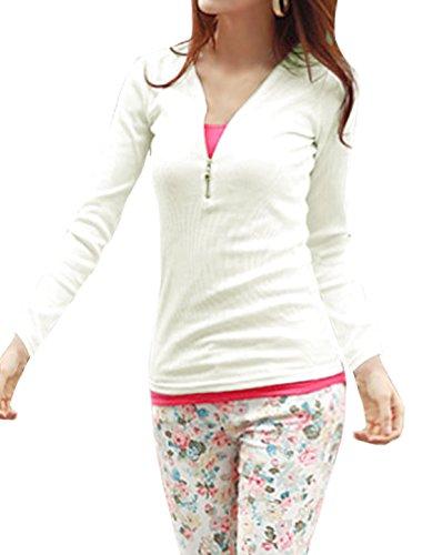 Generic Women V Neck Long Sleeves Half Placket Slim Fit Top