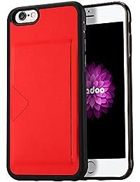 """Radoo Funda iPhone 6,Funda iPhone 6S, Slim Cuero y Silicona TPU Flexible Híbrido Suave Cubierta con [Ranuras para Tarjetas] Dura Antideslizante Ultra Delgado para iPhone 6 /iPhone 6S 4.7""""(Rojo)"""
