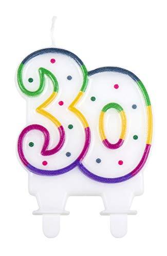 1 STK. Kerze Nummer 30 mit Halter Höhe 7cm Geburtstags Dekoration Kuchen