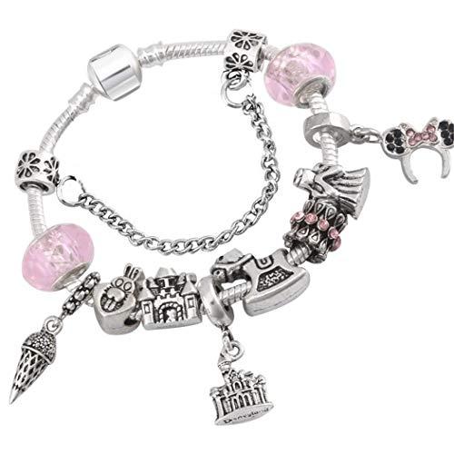 Qwerst bracelet stile cartoon in vetro di murano perle fini antichi bracciale placcato in argento braccialetto di fascino,18cm