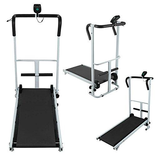 VENDEUR PRO Manuell Mini Laufband LCD Sit-ups Fitnessgerät Klappbar Heimtrainer 95x33cm Schwarz